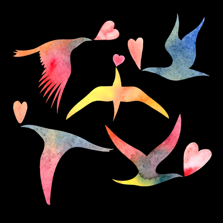 bright watercolor bird lovers on a black background Vector