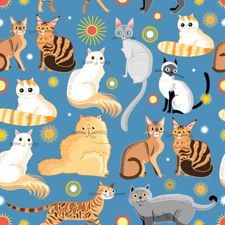 reproduce: Seamless graphic pattern of different breeds of cats on a blue background Illustration