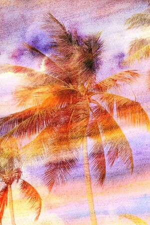 Beautiful watercolor weathered landscape with coconut palms