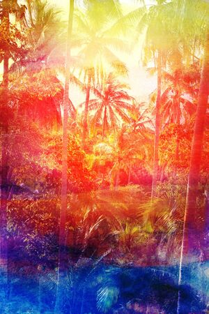 Beautiful watercolor colorful retro coconut palms grove Stock Photo