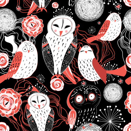 reproduce: seamless pattern Beautiful graphic owl on a black floral background Illustration