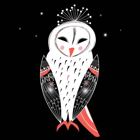 beautiful graphics owl on a black background Illustration
