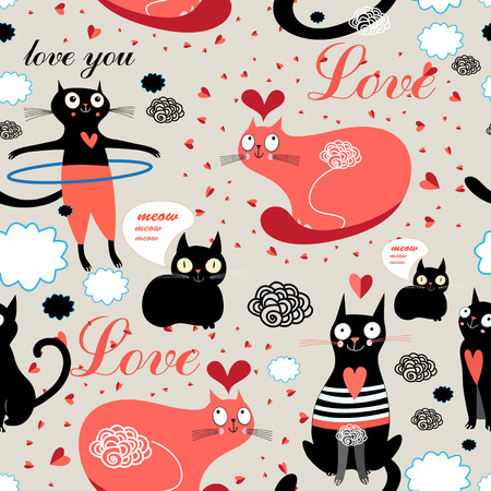 funny cats: Seamless graphic pattern of funny cats lovers Illustration