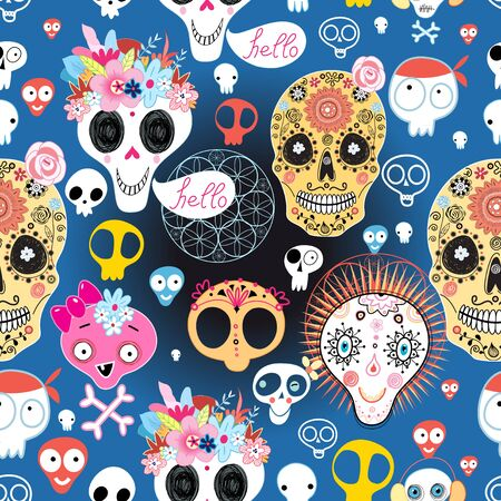 surprisingly: bright festive pattern of funny skulls on blue background