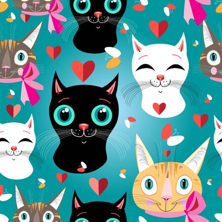 funny cats: seamless pattern of funny cats portraits . Illustration