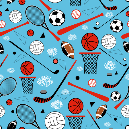 color graphic pattern sporting goods on a blue background Illustration