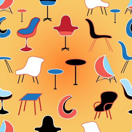sedentario: Modelo gráfico inconsútil de los diferentes muebles sedentaria sobre un fondo naranja Vectores