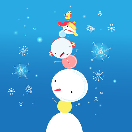 graphic funny snowman on a blue background with snowflakes Vector