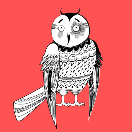 realistically: large a graphical a fun night owl on a red background Illustration