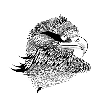 beautiful a graphical eagles head isolated on a white background
