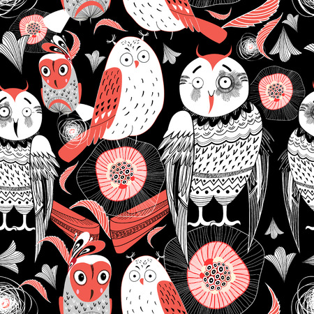 graphic pattern funny owl on a black background