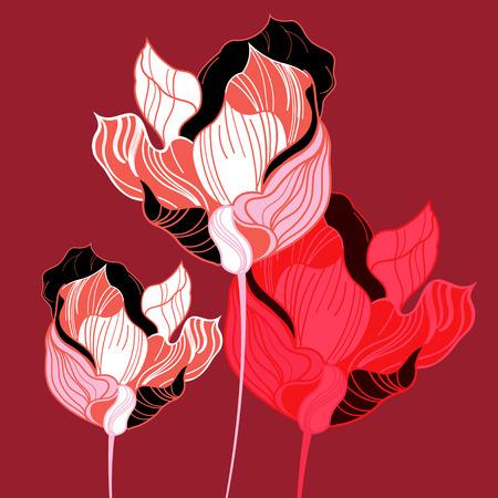 tulip: abstrakcja żywe tulipany grafiki na bordowym tle Ilustracja
