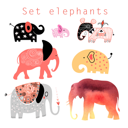 Graphic interesting set different elephants on a white background Illustration