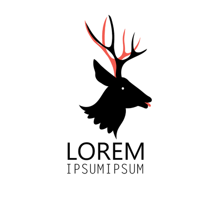 Graphic sign of a deer head on a white background