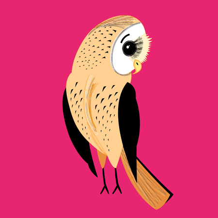 large a graphical a fun night owl on a red background Illustration