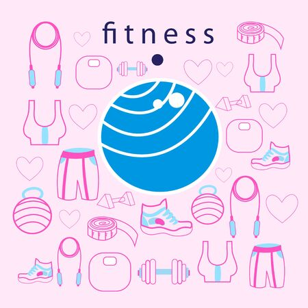 fitness ball: large fitness ball on with objects for sports Vectores