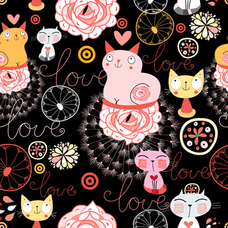 Katten in liefde mooie illustratie patroon Stock Illustratie
