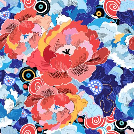 peonies: beautiful colorful flowers peonies seamless floral pattern