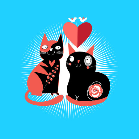 enamored: graphic enamored cats with heart on a blue background