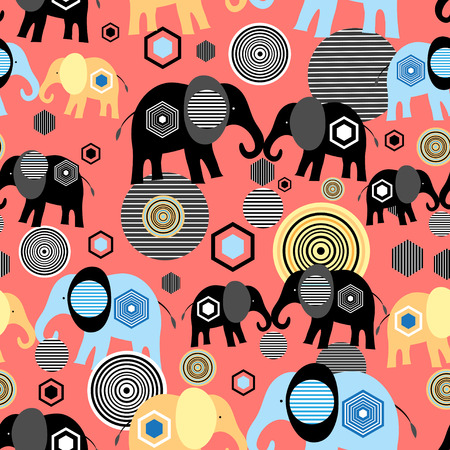 Bright graphic pattern of elephant lovers on a red background Ilustração