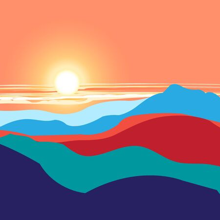 cracked earth: Bright graphics landscape with the sunset and mountains Illustration