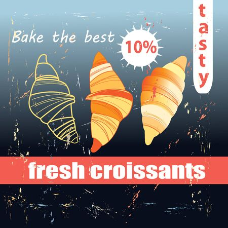 buttery: Vector illustration of fresh and delicious croissants Illustration