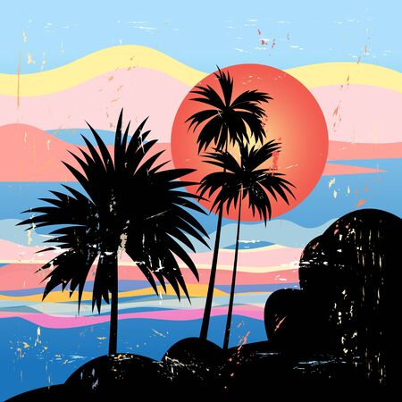 subtropical: bright beautiful tropical landscape with palm trees and the sun at sunset