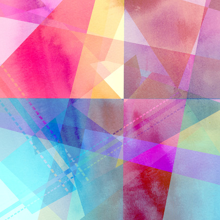 Watercolors of the interesting retro multicolored abstract elements Stock Photo