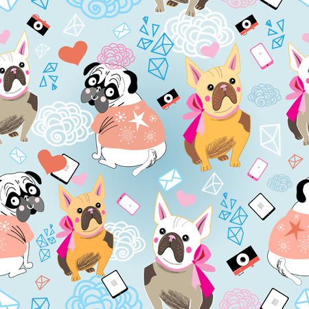 pattern vector graphic portrait of a  Bulldogson a blue background