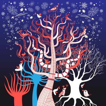 winter tree: Graphic pattern vector illustration winter tree with birds Illustration