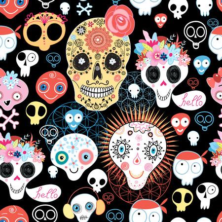Het patroon van schedels mooie vector illustratie