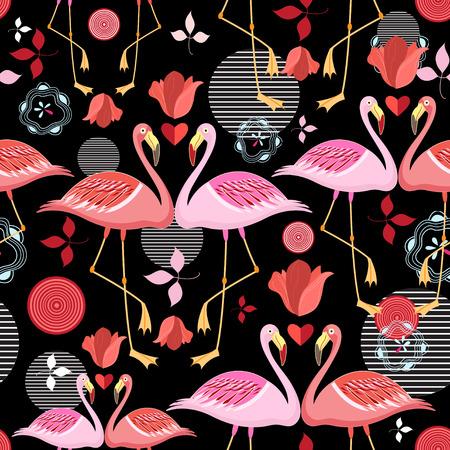 검정색 배경에 빨간색과 핑크 플라밍고의 원활한 패턴 일러스트