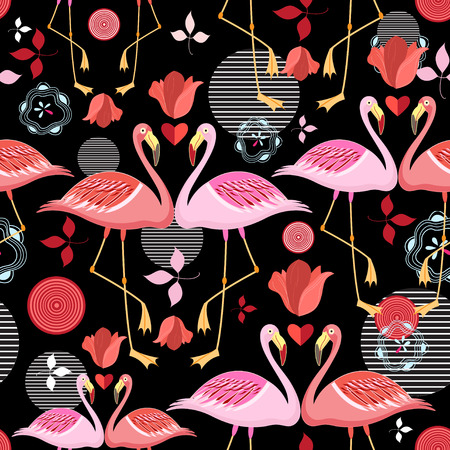 seamless pattern of red and pink flamingos on a black background