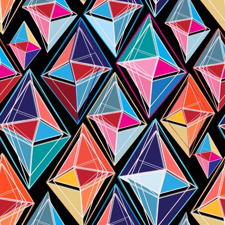 confine: bright seamless abstract pattern of polygons on a black background Illustration