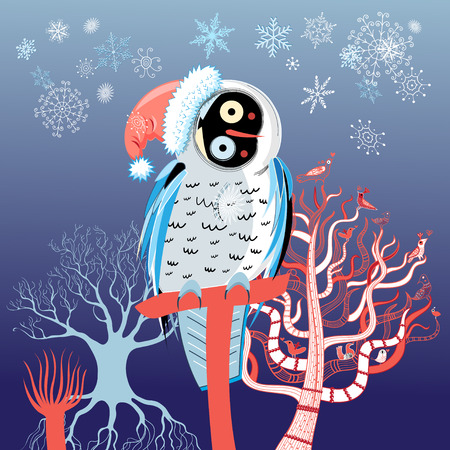 funny Christmas owl on a snowy background