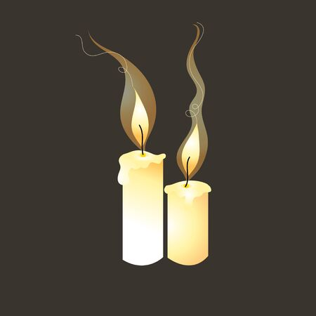 candle wick: graphic bright candles on a dark background Illustration