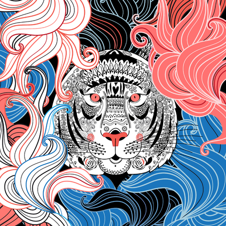 portrait of a beautiful ornamental tiger on an abstract background Banco de Imagens - 43893368