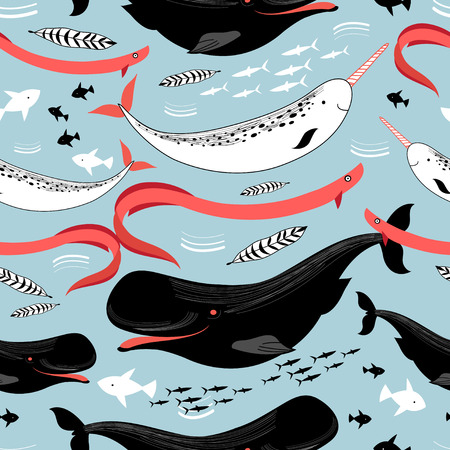 harmless: graphic pattern sea whales and fish on a blue background Illustration