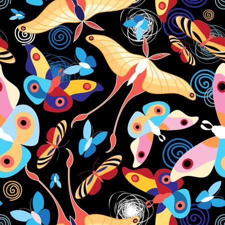Graphic seamless pattern different colored beautiful butterflies
