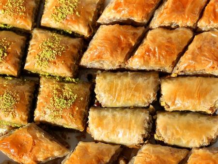 baklava: Fresh delicious a  Turkish baklava with walnuts Stock Photo