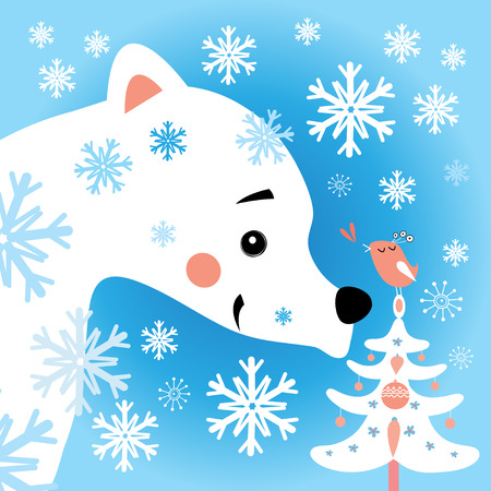 snow forest: Beautiful vector illustration of a polar bear in the snow forest Illustration