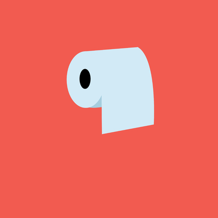 cellulose: Beautiful vector illustration icon of a roll of toilet paper white Illustration