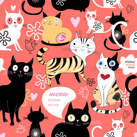 funny love: funny love with a cat pattern on a blue background with heart