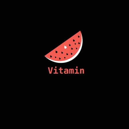 Beautiful vector illustration of a piece of watermelon icon labeled vitamin Vectores