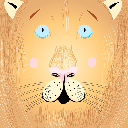 Vector illustration of a beautiful portrait of a lion