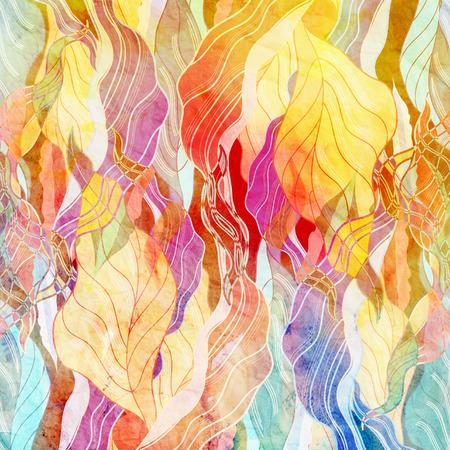 line art: watercolor un fondo retro de elementos abstractos Foto de archivo