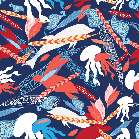 sea creatures: vector illustration pattern sea creatures dolphins, jellyfish and turtles