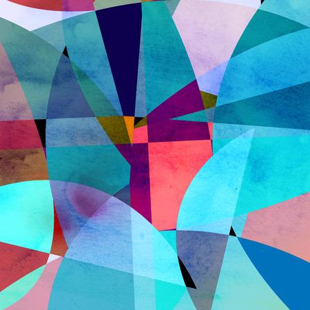 Abstracte heldere kleurrijke achtergrond met verschillende geometrische elementen Stockfoto