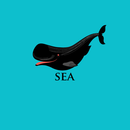 cetaceans: graphic whales and sea fish on a white background
