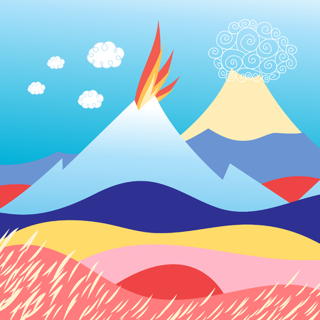 Beautiful vector illustration of an island in the sea with the volcano